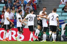 Germany celebrates after scoring against El Tri.